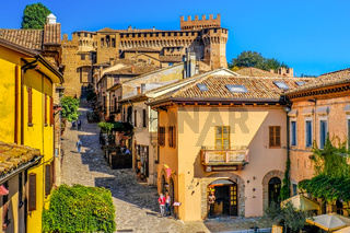 mediaeval town buildings of Gradara italy colorful houses village streets