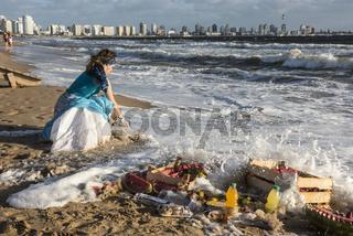 Parishioners of the Umbandist church worship Orisha Yemanja (Iemanja) on the Playa Mansa beach in Punta del Este