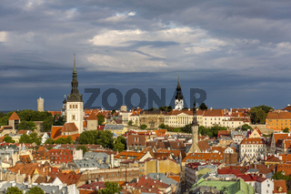 View of well preserved Tallinn old town in the morning