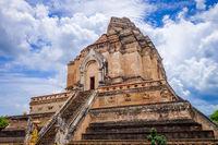 Wat Chedi Luang temple big Stupa, Chiang Mai, Thailand