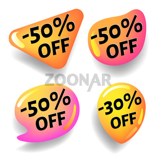 Glossy discount stickers for design of advertising banners for web pages and prints, vector stickers with shadow isolated on white background.