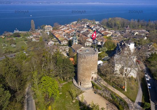 Hermance at Lake Geneva with the round watchtower of the medieval fortress, Geneva, Switzerland