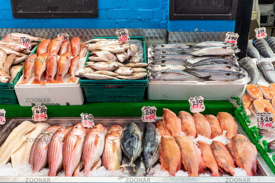 Red mullet, snapper and other fish for sale at a market in Brixton, London