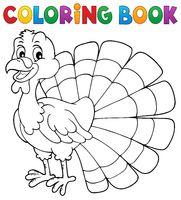 Coloring book turkey bird theme 1