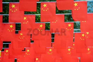Chinese flags hanging for the chinese national day