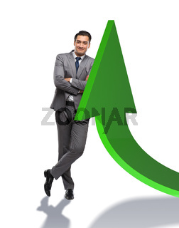 Young businessman in business concept with charts