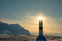 Kapp Ekholm Lighthouse in Billefjorden, Spitsbergen in Norway