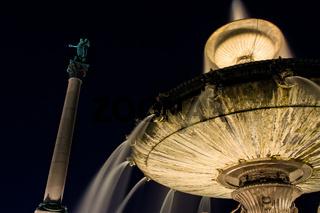 Stuttgart Germany City Fountain and Statue Column Night Starry Sky