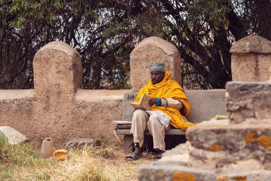 orthodox priest in Axum. Aksum, Ethiopia