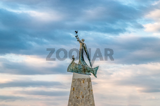 Statue of St. Nicholas at sunrise in Nessebar ancient city, one of the major seaside resorts on the Bulgarian Black Sea Coast. Nesebar or Nesebr is a UNESCO World Heritage Site