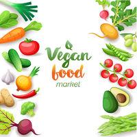 Vegetables top view square frame. Vegan food market menu design. Colorful fresh vegetables, organic healthy food, vector illustration.
