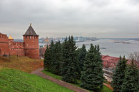 Tower and wall of fortress in Nizhny Novgorod, Russia