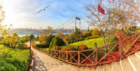 The Fatih Sultan Mehmet Bridge, beautiful autumn park panorama, Istanbul