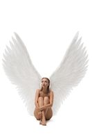 Nude pretty girl with beautiful white wings shot