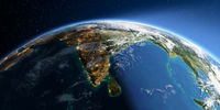 Detailed Earth. India and Sri Lanka