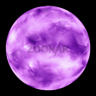 Purple Glowing Orb Isolated Over Black Background