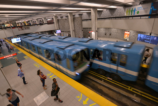 One metro car is arriving while the other one is leaving, Montreal