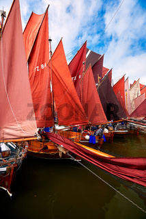 annually traditional Zeesboat regatta in Bodstedt nearby Fischland Darss Zingst on 2016-09-03