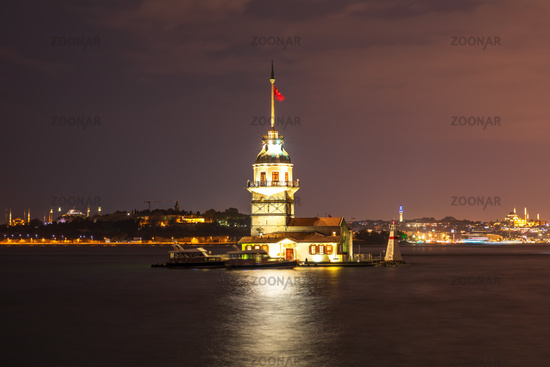 Maiden's Tower in the night lights, Istanbul