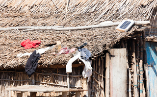 Small solar panel on a large roof in Madagascar