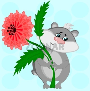 I give you a flower. The picture shows a gray hamster with a lush red flower in its paws, a gift, love
