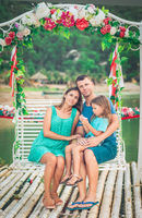 Outdoor portrait of a beautiful family