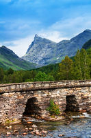 Beautiful old bridge over river, Norway