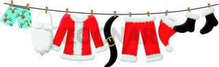 Weihnachtsmann Kleidung auf Leine