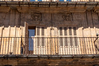 Shutters and balconies line the apartment buildings in Plaza Mayor in Salamanca