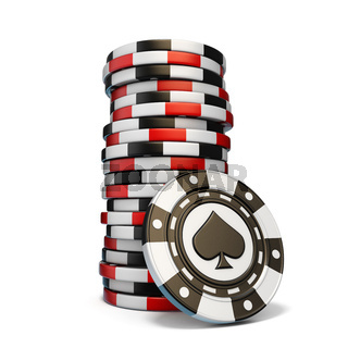 Stack of gambling chips and one Black spade chip 3D