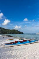 Two empty kayaks at Sao Beach in Phu Quoc, Vietnam