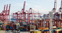 Commercial container port in Hong Kong at summer