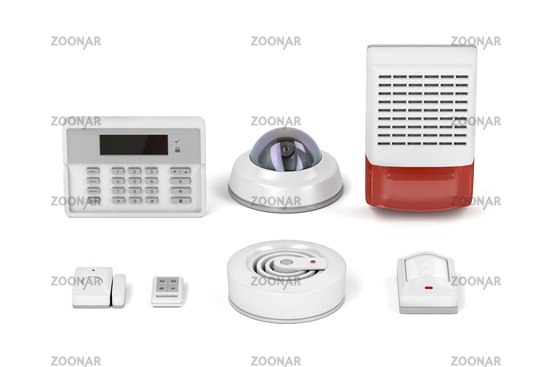 Security equipment on white background