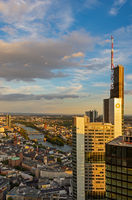 Aerial view over over Frankfurt and the Commerzbank Tower