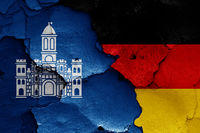 flags of Split, Croatia and Germany painted on cracked wall