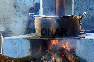 Kitchen with rustic wood stove typical of the interior of Brazil