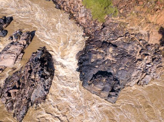 aerial Epupa Falls on the Kunene River in Namibia