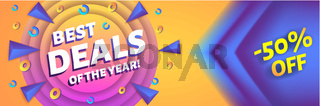 Best deals of the year - horizontal advertising web banner or poster, placard template with colorful abstract elements, vector illustration.