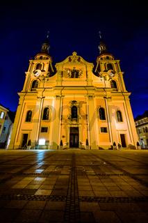 Ludwigsburg Germany Europe Cathedral Evangelical Church Religion Marktplatz Architecture Exterior Night Blue Hour