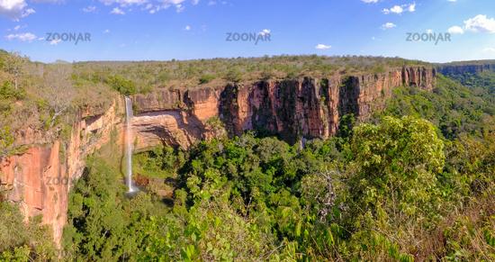 Beautiful Bridal Veil, Veu Da Noiva waterfall in Chapada Dos Guimaraes National Park, Cuiaba, Mato Grosso, Brazil
