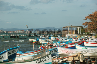 Pomorie, Bulgaria - - November 06, 2019: Pomorie Is A Town And Seaside Resort In Southeastern Bulgaria, Located On A Narrow Rocky Peninsula In Burgas Bay On The Southern Bulgarian Black Sea Coast.