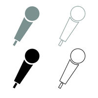 Hand microphone icon outline set grey black color