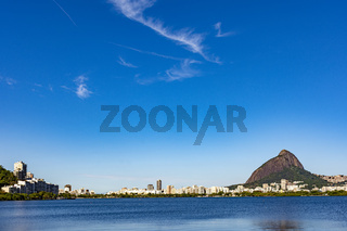 Skyline of Rodrigo de Freitas lagoon at morning
