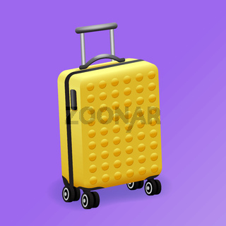 single yellow luggage travel bag isolated - baggage travel suitcase icon