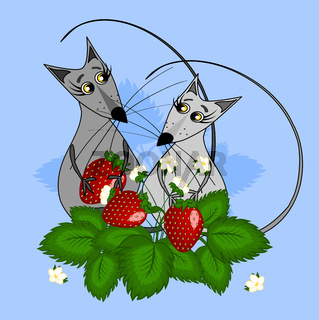 Two mice in love with a berry in their paws are in strawberry bushes. Illustration on a blue background.