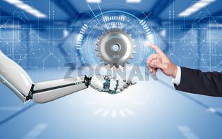 Businessman Robot Hands Gear Circuit Diagram