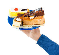 Hand and plate with cakes