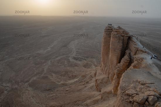 Sunset at the Edge of the World near Riyadh in Saudi Arabia
