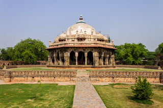 Large Panorama of Tomb of Isa Khan near Mausoleum of Humayun Complex. UNESCO World Heritage in Delhi, India. Asia.