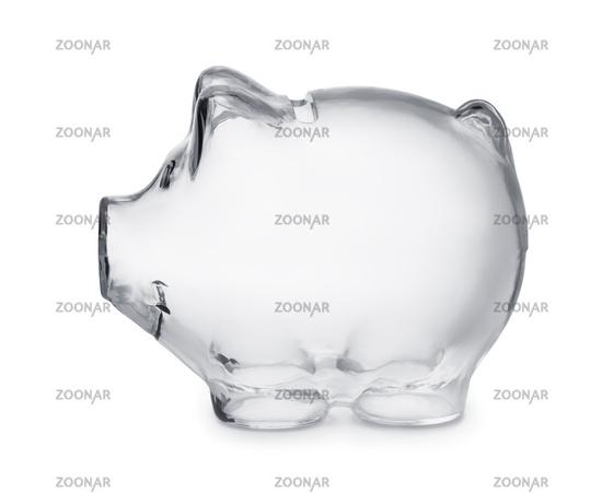 Empty transparent piggy bank